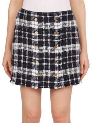 Front-Buttoned Lightweight Tweed Mini Skirt in Blue