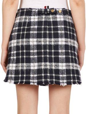 THOM BROWNE Cottons Wool-Blend Tweed Mini Skirt