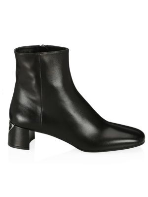 Triangle Logo Heel Leather Ankle Boots by Prada