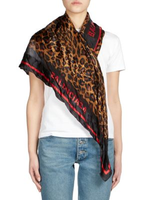 Silk Leopard Print Square Scarf in Black