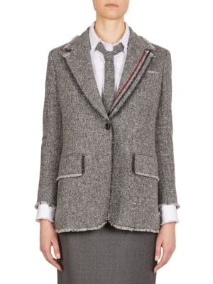 Thom Browne Wools Stripe Wide Lapel Wool Jacket