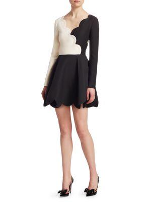 Scalloped Two-Tone Wool And Silk-Blend Mini Dress in Black