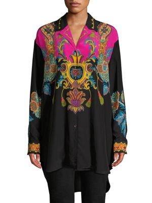 Button-Front Long-Sleeve Damask-Print Silk Blouse in Black