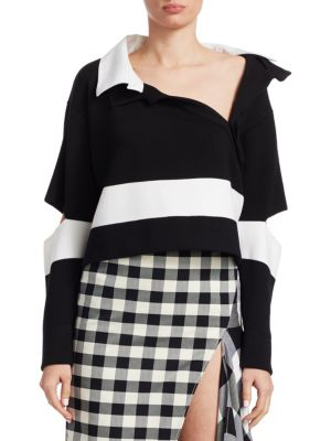 Open-Elbow Striped Wool Cropped Polo Sweater, Black-White