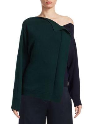 MONSE Bicolor Ruffle Virgin Wool Sweater
