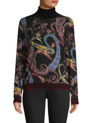 Paisley & Heart Wool Blend Turtleneck Sweater, Black