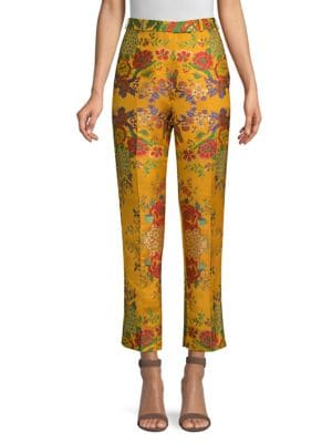 High-Rise Straight-Leg Cropped Floral-Jacquard Pants, Gold