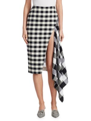 Asymmetric Gingham Wool And Cotton-Blend Midi Skirt, Black/ White