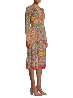 Dream Catcher Printed Silk Dress in Yellow