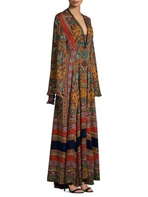Zoist Paisley-Print Silk-Chiffon Dress, Orange