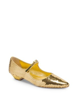 Mary Jane Sequined Skimmer Flat, Gold