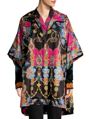 Hooded Zip-Front Dolman-Sleeve Paisley-Print Nylon Poncho Jacket in Black