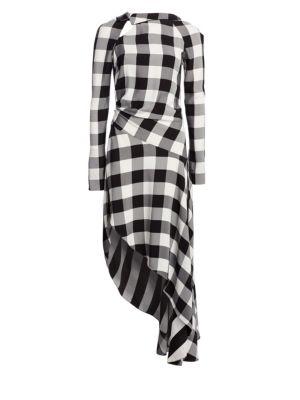 Asymmetric Gingham Crepe Midi Dress, Black-White
