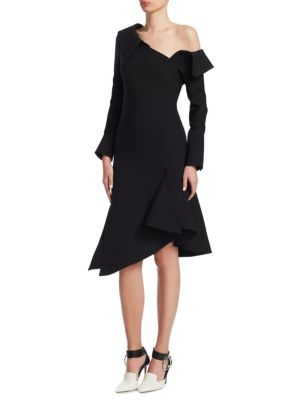 MONSE One-Shoulder Draped-Sleeve Wool-Blend Fit-And-Flare Dress in Black