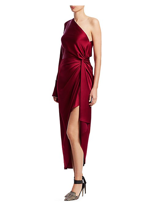 Image of Eveningwear meets sleepwear in this audacious mash-up from designers Fernando Garcia and Laura Kim. Elegant draping at the waist is paired with contrast piping, ensuring the wearer knows the pajama roots of this cocktail frock. Asymmetrical off-the-should