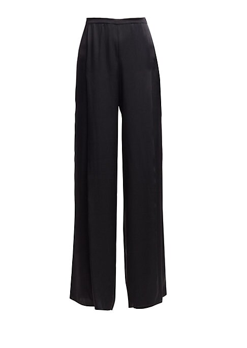"""Image of Elegant pants in a flowing wide-leg silhouette. Banded waist with pleats. Concealed side zip closure. Hem slits. Rise, about 13"""".Inseam, about 34"""".Leg opening, about 32"""".Organic silk. Dry clean. Imported. Model shown is 5'10"""" (177cm) wearing US size 4."""