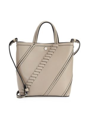 Hex Small Light Taupe Leather Tote in Brown