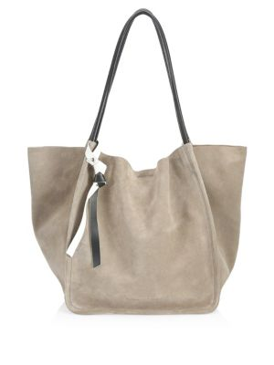 Large Suede Tote Bag, Dark Taupe