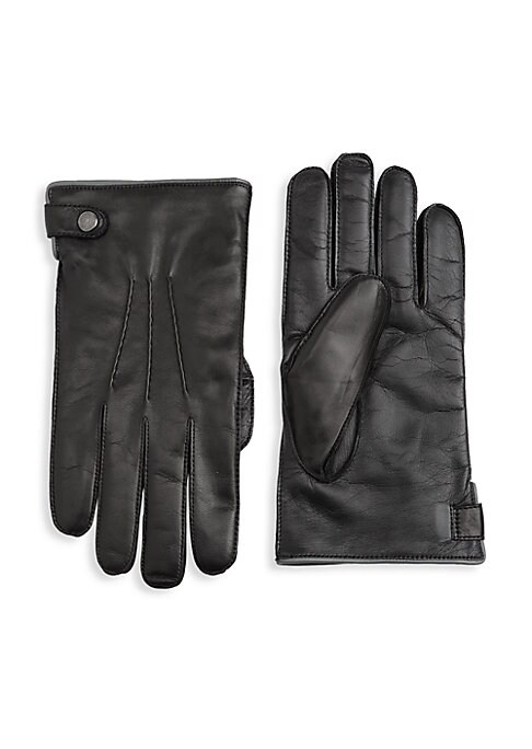 Image of EXCLUSIVELY AT SAKS FIFTH AVENUE. Soft cashmere lines touchscreen-ready nappa leather gloves. Snap buckle. Touchscreen compatible. Leather. Lining: Cashmere. Dry clean by leather specialist. Made in Italy.