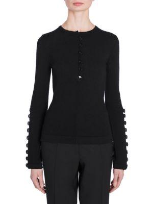 JIL SANDER Wool Buttoned Knit Sweater in Black
