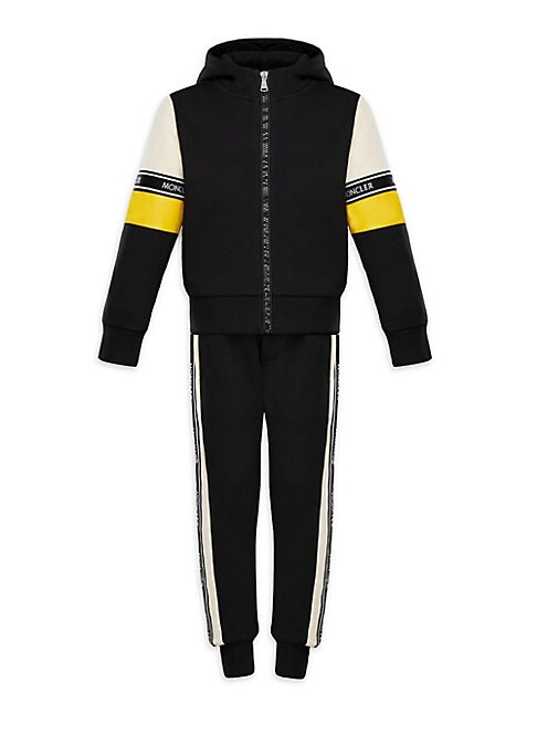 Image of Pure cotton jacket and track pants with logo taping details. Cotton. Machine wash. Imported. JACKET. Attached hood. Long sleeves. Rib-knit cuffs and hem. Exposed front zip. TRACK PANTS. Rib-knit cuffs.