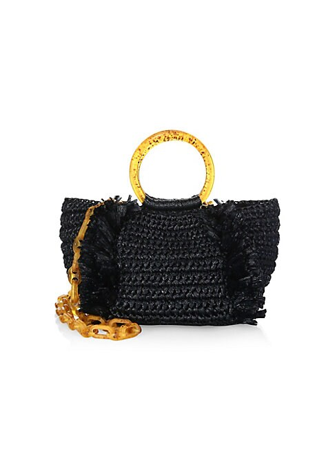 """Image of Crafted of woven viscose with frayed trim, circular top handles and chain shoulder strap. Double circular top handles. Removable chain shoulder strap. Magnetic closure. Interior zip pocket. Lined. Goldtone hardware.11""""W x 7""""H x 6""""D.Viscose. Made in Italy."""