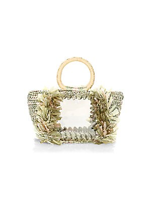"Image of Crafted of woven viscose with frayed trim, circular top handles and see through styling Double circular top handles, 3"" drop Removable zip pouch 12""W x 6""H x 5""D Viscose/pvc Made in Italy. Handbags - Collection Handbags > Saks Fifth Avenue. Carolina Santo"