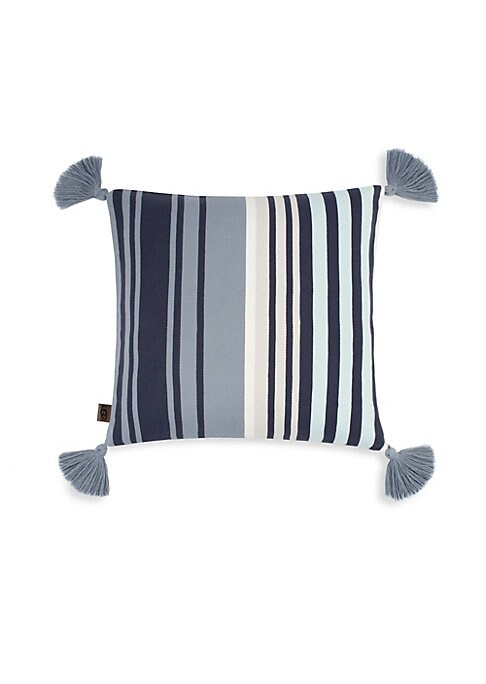 """Image of Decorative square cotton cushion with striped and tassel detailing. Zip closure.20""""W x 20""""H.Cotton/ feather and down fill. Spot clean. Imported."""