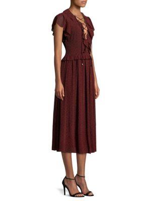 Lace Up Flounce Midi Dress by Michael Michael Kors