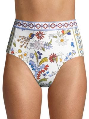 Meadow Folly High Waist Bikini Bottoms, Ivory Meadow Folly