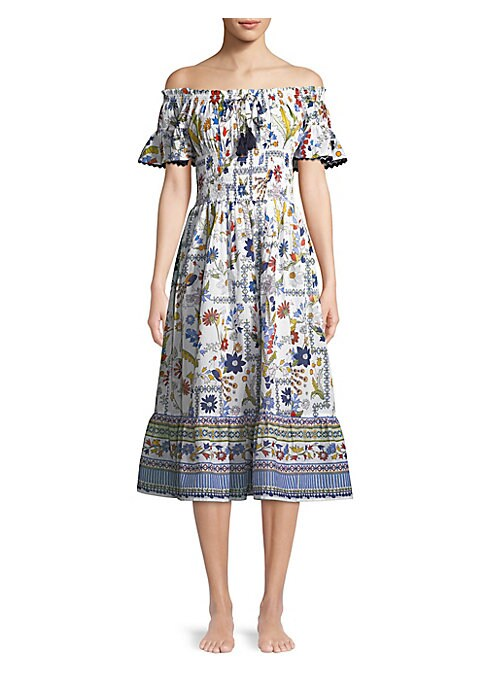 """Image of Shoulder-baring printed cotton dress with pom-pom trim. Off-the-shoulder neckline. Short sleeves. About 33"""" from shoulder to hem. Cotton. Hand wash. Imported. Model shown is 5'10"""" (177cm) and wearing US size Small."""