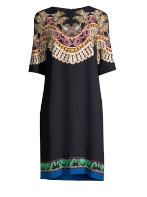 Short-Sleeve Dream-Catcher Medallion-Print Shift Dress, Black