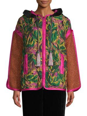 Floral Faux Fur-Trim Patchwork Hooded Jacket in Pink