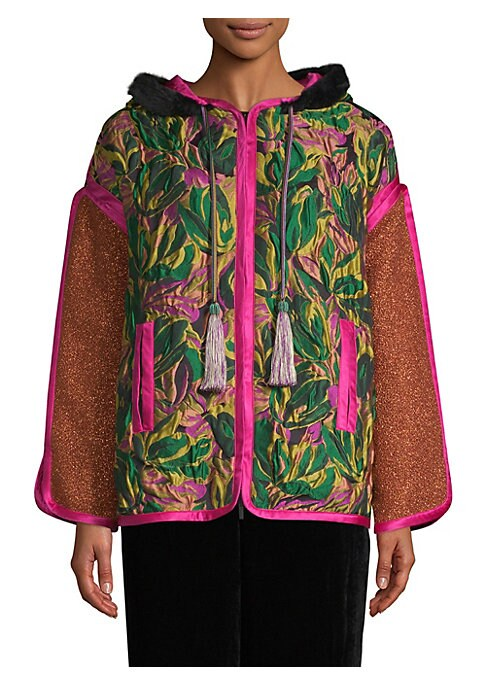 Image of From the Saks IT LIST. STATEMENT OUTERWEAR. From sleek and fitted to puffy and bright, there's a coat for every occasion. Melding global influences and high-end materials, this piece encapsulates the signature bohemian glamour of the brand. Featuring alte