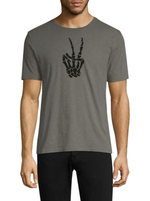 Skeleton Peace Sign Graphic Tee by John Varvatos Star U.S.A.