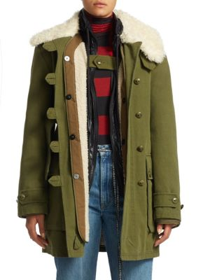Faux Fur Collar Belted Military Coat in Green
