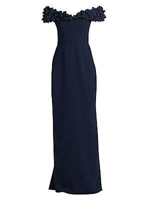Image of Floral appliqué neckline offers drama to minimalist gown. Minimalist in design and silhouette, this form-fitting piece is refined in every way. Sweetheart neckline Short sleeves Concealed back zip Matte finish Polyester Dry clean Made in Canada SIZE & FIT