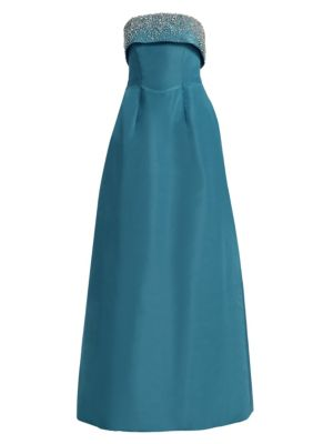 CATHERINE REGEHR Doris Day Strapless Silk Gown in Dusty Turquoise
