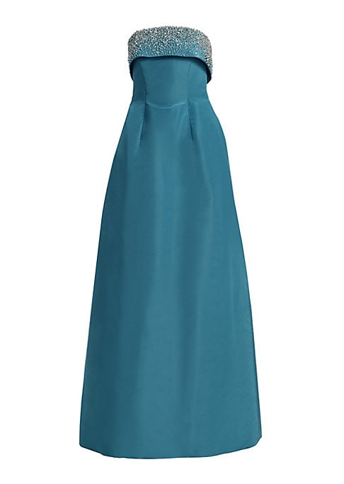 Image of Elegant strapless silk gown with front and back shaping seams flares to a floor-length tulip skirt. Sparkling crystal bodice adds the perfect finishing touch. Straight neckline. Sleeveless. Concealed back zip closure. Tulip skirt. Silk. Dry clean. Made in