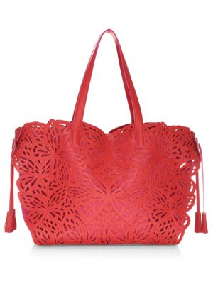 Liara Laser-Cut Leather Butterfly Tote Bag in Pink