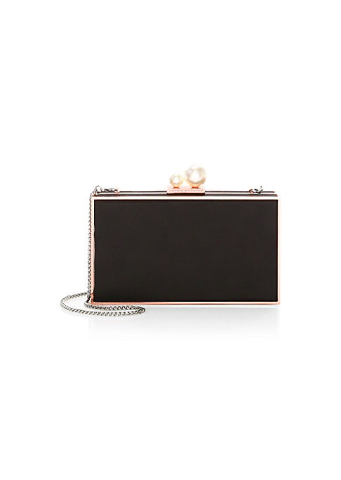 """Image of Elegant chain box purse adorned with faux pearl accents. Chain shoulder strap. Magnet closure. Rose goldtone hardware. Embossed logo detail. Satin lining. Satin.7.6""""W x 4""""H.Imported. Dust cover included."""