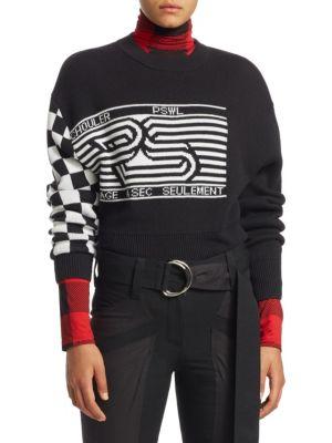 Pswl Wool-Blend Jacquard Sweater in Black