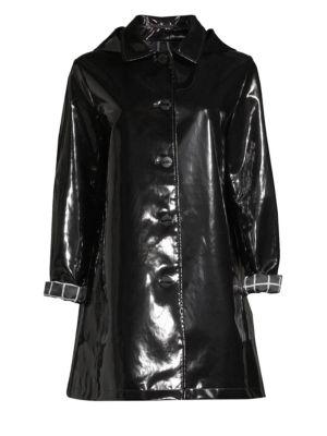 JANE POST Iconic Slicker Rain Coat in Black