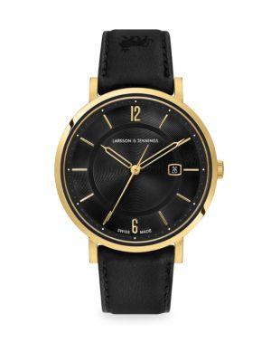 LARSSON & JENNINGS Opera Black & 23K Yellow Goldtone Stainless Steel Leather Strap Watch