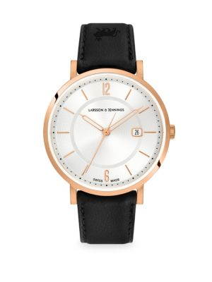 LARSSON & JENNINGS Opera White & Rose Goldtone Stainless Steel Leather Strap Watch in Black