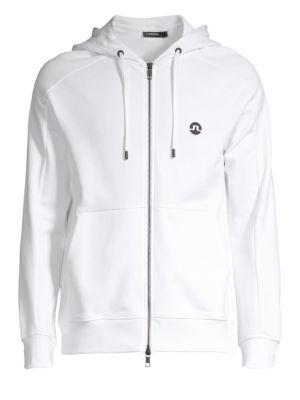 J. LINDEBERG Full Zip Hooded Sweatshirt in White
