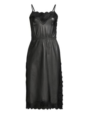 FLEUR DU MAL Leather & Rose Lace Dress in Black