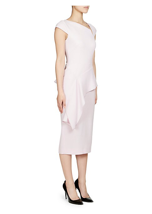 Image of The fitted silhouette creates a long, lean look punctuated with an asymmetrical flowing peplum. Angled notched neckline and full-length exposed zipper complete the strong feminine design. Asymmetrical notch neckline. Cap sleeves. Asymmetrical peplum. Expo