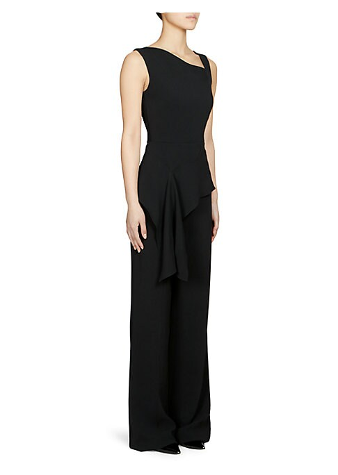 Image of From the Saks It List: The Jumpsuit. This elegant jumpsuit features a draped peplum waist with gathering and cut-out neckline. Asymmetric neckline. Sleeveless. Peplum hem. Silk-stretch lining. Viscose/acetate/elsatane. Dry clean. Imported. SIZE & FIT. Ris
