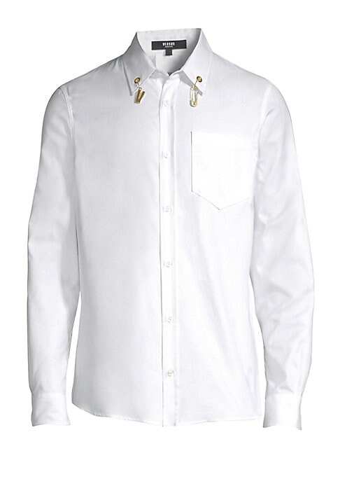 """Image of Crisp cotton button-down accented by hanging goldtone charms. Point collar. Long sleeves. Buttoned barrel cuffs. Button front. Grommet detail. Chest patch pocket. Back box pleat. About 26"""" from shoulder to hem. Cotton. Machine wash. Made in Italy."""